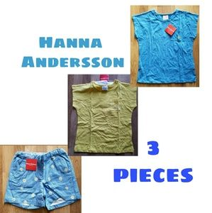 Hanna Andersson 3 Piece Shorts and Shirts 10 Girls
